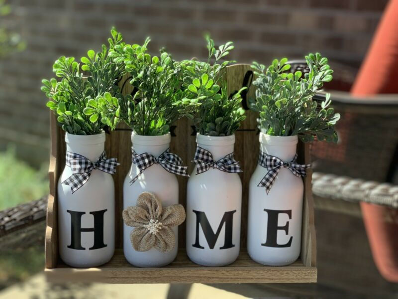 Graceful Designs By Monica Kloepfer. Farmhouse Decor Rustic Bottles With Shelf.