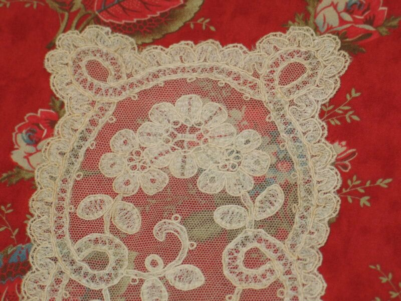 Antique Brussels Princess Net Lace Runner Ivory Cotton Hand Made 12 x 5.25