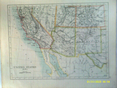 Double-sided Antique Map. UNITED STATES (S.W.) & (S.W. CENTRAL). 1895. VG.