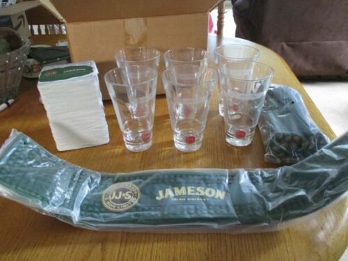 All Brand New! Jameson Bar Set Irish Whiskey Mat, 6 Glasses, Stirrers & Coasters