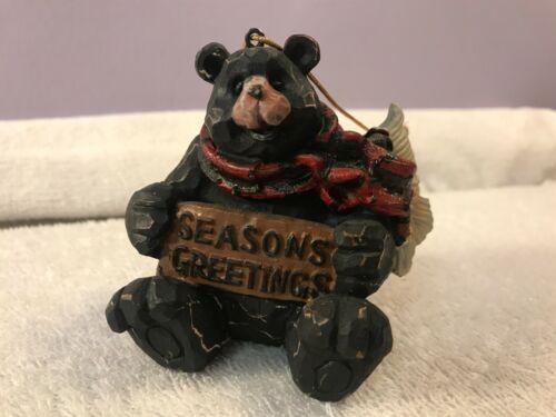 Christmas ornament black bear Seasons Greetings EX5620