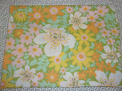 Vintage mod flower power green yellow pink Twin Flat Bed sheet