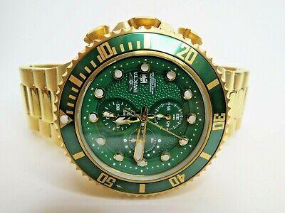 Invicta Pro Diver Quartz Chronograph Watch Green Gold Wristwatch 25299 50mm
