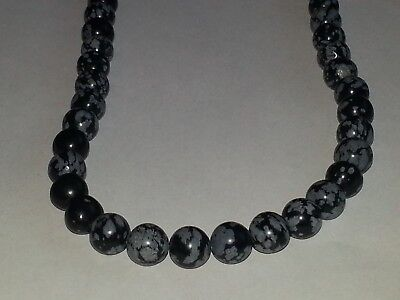 6MM 8MM Natural Snowflake Obsidian Gemstone Spacer Round Loose Beads PICK - Beaded Snowflakes