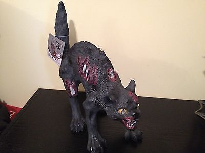 Zombie Cat Prop (New GRANDINROAD ANIMATED RED LIGHT EYES ZOMBIE BLACK CAT HAUNTED Graveyard)
