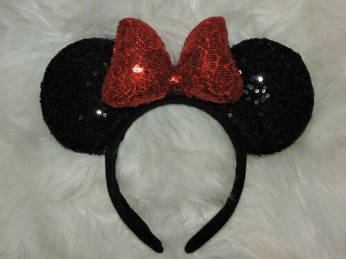 Minnie Mouse Sequin Headband Ears Bow Sparkly Disney Costume Party Black Red