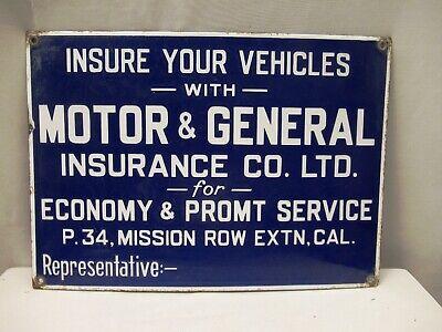 "Vintage Porcelain Enamel Sign Motor & General Insurance Co Of Vehicles Insuranc"""