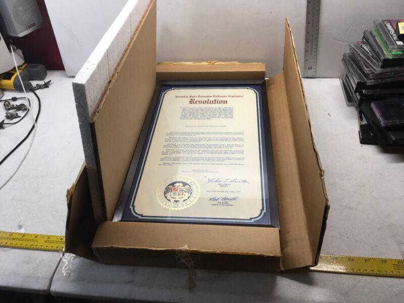 ASSOCIATED PRESS EDITH LEDERER CALIFORNIA RESOLUTION AWARD SIGNED JOHN BURTON