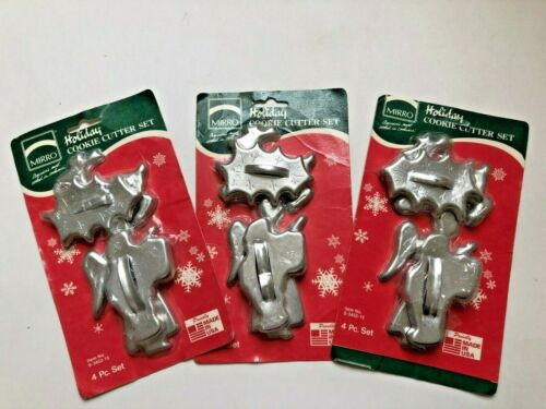 Vintage Mirro Christmas Holiday Cookie Cutter Set Angel Santa Holly Deer Sealed