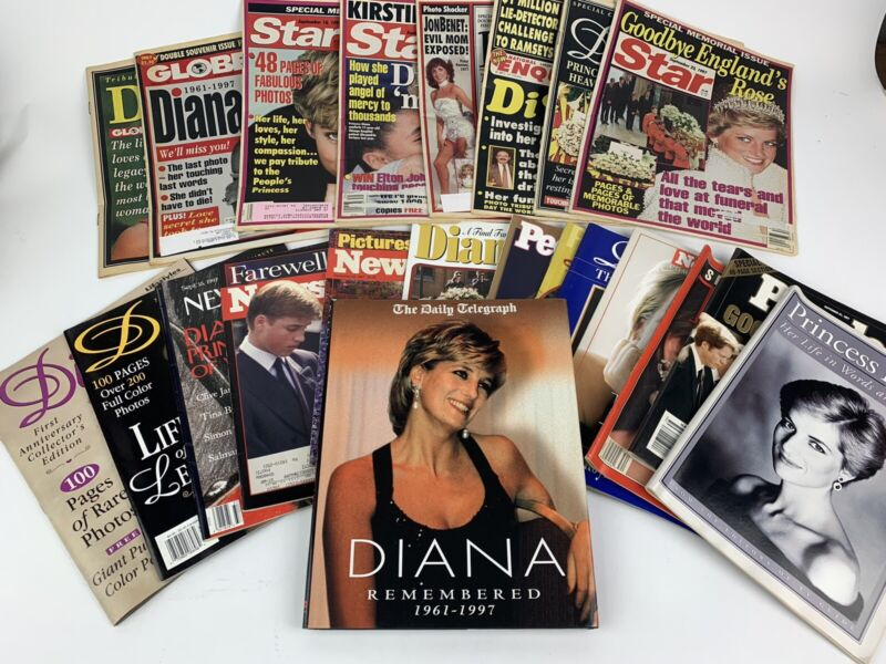 Princess Diana Di Vintage Newspapers Magazines Tabloids Calendars Death Huge Lot
