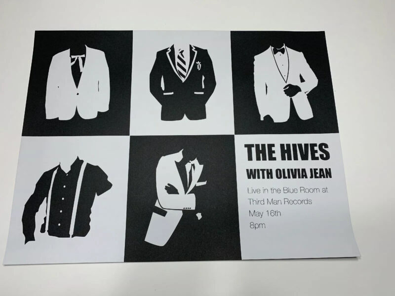 THE HIVES LIVE AT THIRD MAN RECORDS ORIGINAL POSTER 24 X 18 BLUE ROOM JACK WHITE