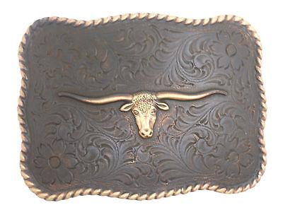 Longhorn Steer Head Copper Finish Western Belt Buckle