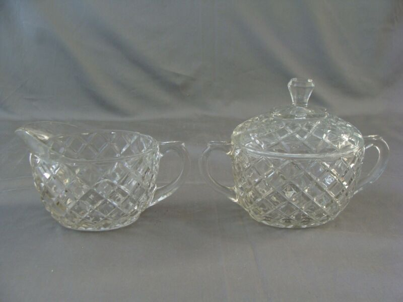 Anchor Hocking Creamer & Sugar Bowl With Lid In The Waterford Waffle Pattern