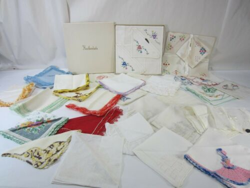 Vintage & Anituqe Lot of 33 Ladies Handkerchiefs-Crocheted Edge & Embroidered