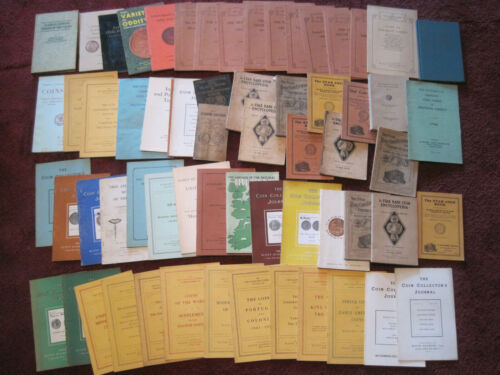 Large lot of 62 vintage coin and currency guides/books from the 1930s to 1960s
