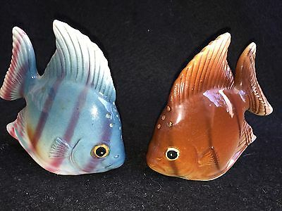 Vintage Salt & Pepper Shakers Tropical Fish Marked Made in Japan Fishing Fish