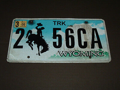 2006 Wyoming License Plate Truck Tag 2 56CA Devils Tower