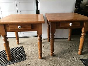 Solid oak end tables