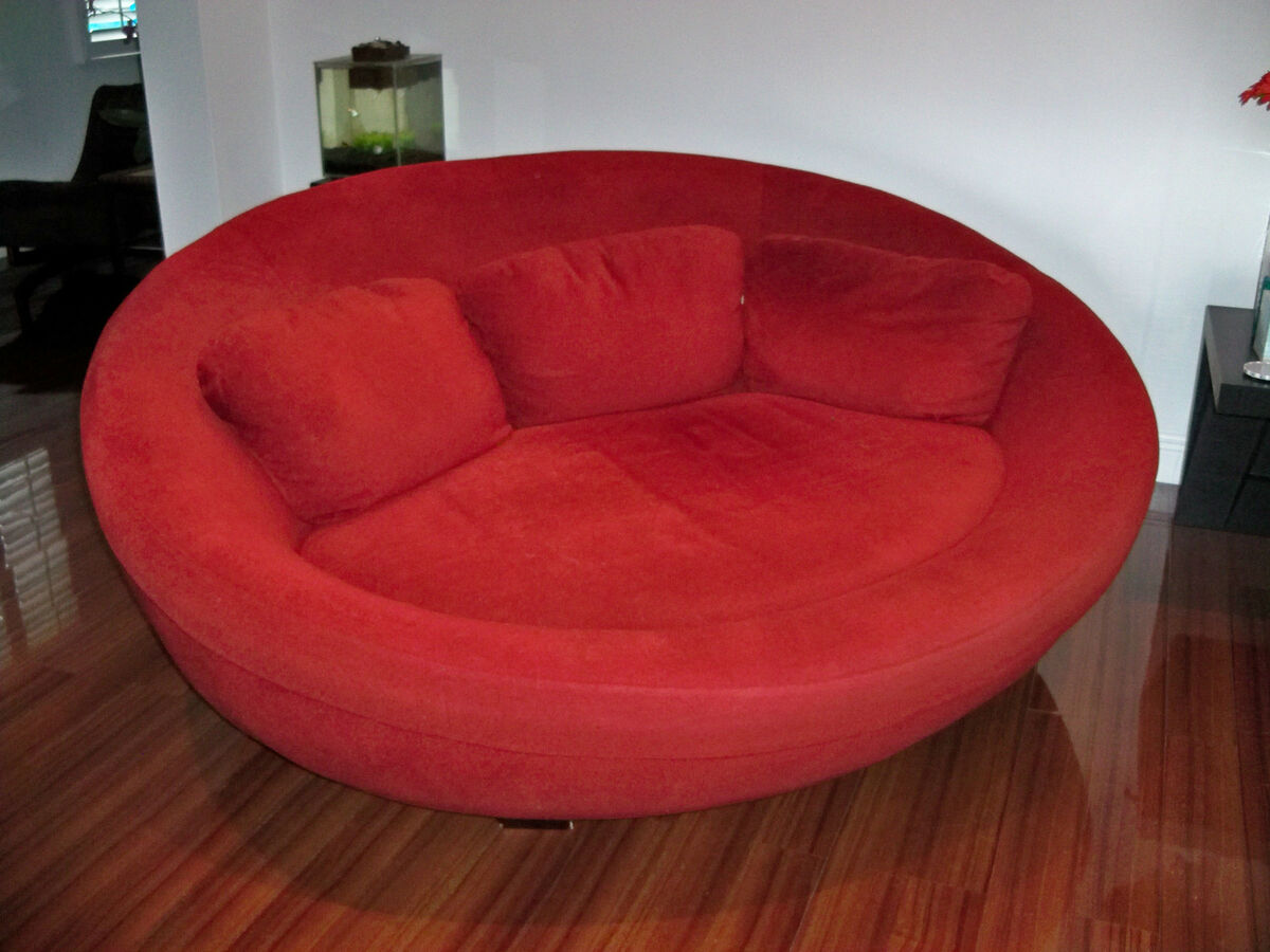 Oversized round living room chair oversized living room chair for - Large Red Cellini Ufo Sofa Oval Round Cloth Couch Loveseat