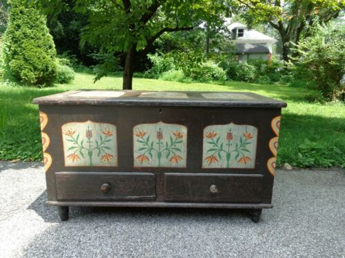 Antique 19th.c Painted Blanket Chest with 2 Outside Drawers & Candle Box