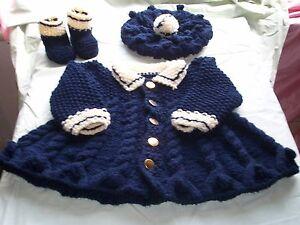 Baby knitting pattern, children's warm  sailor coat, hat, boots, Matinee set.
