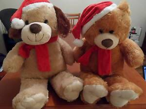 Christmas  Plush Toy Teddy Bear and Dog Oakden Port Adelaide Area Preview