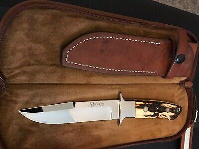 R.W. LOVELESS CUSTOM KNIFE MAKER INTEGRAL STAG CHUTE KNIFE- PORTRAIT LOGO-RARE!
