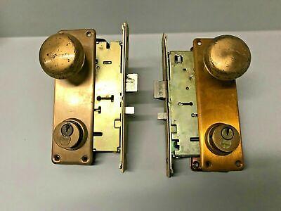 Lot Of 2 Vintage Sargent 77 Commercial Industrial Door Mortise Locks Case Brass