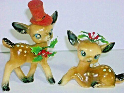 Vintage Celluloid Reindeer Christmas 2 Deer Figures Ornaments Blue Eyes Spots