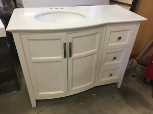 "New 43"" Cream White Single Sink Vanity with Top"