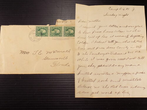 WW1 Letter Home Ft . Dix 1917 Examining Men Slim Chance of