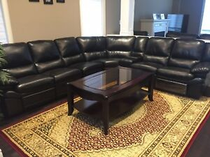Leather Black Sectional L Couch Sofa For Family Living Room