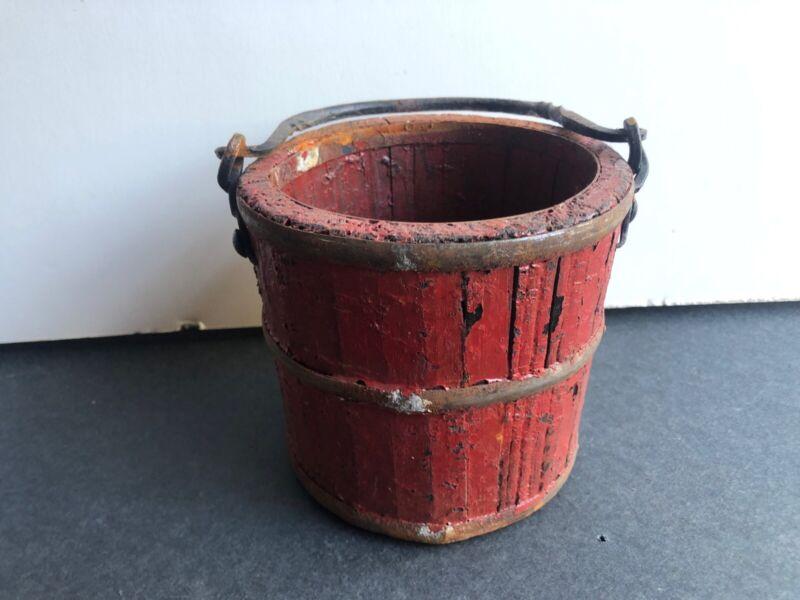 Antique Small Wooden Bucket Pail Chippy Red Paint