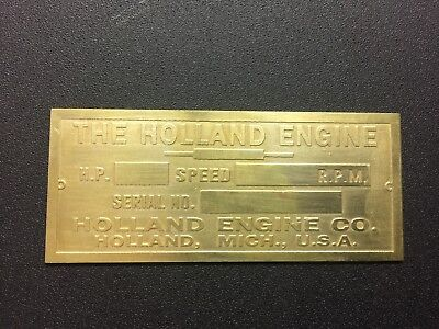 New Holland Brass Data Tag Antique Gas Engine Hit Miss