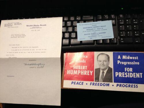 1960 Senator Hubert Humphrey Autograph Signed Letter, President Advertisement