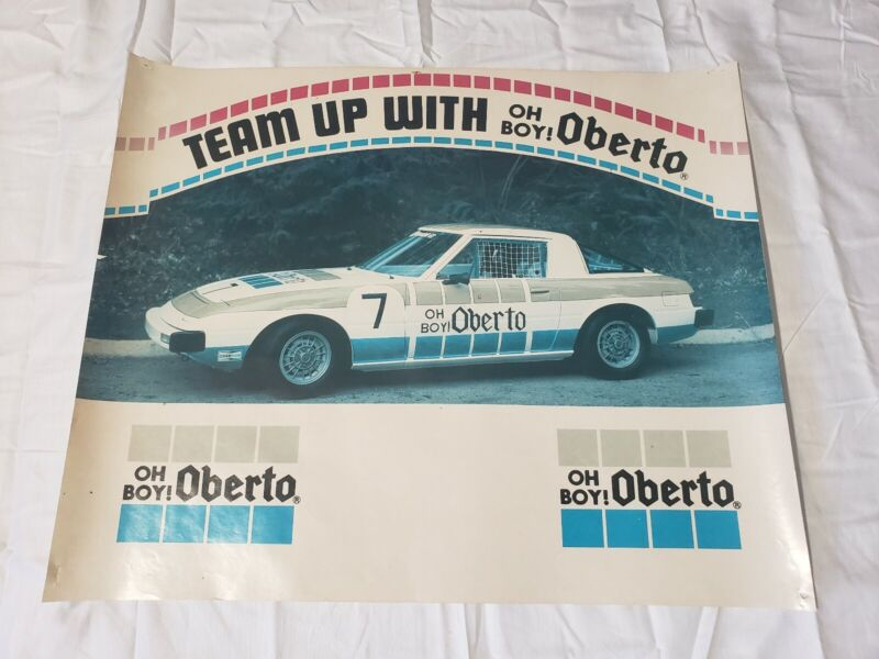 Vintage Team Oh Boy! Oberto #7 Mazda RX-7 Race Car Promotional Poster 22×18 USA