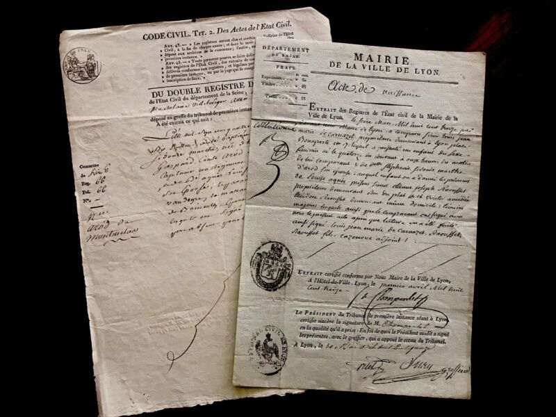 LOT OF TWO Old Historical Documents