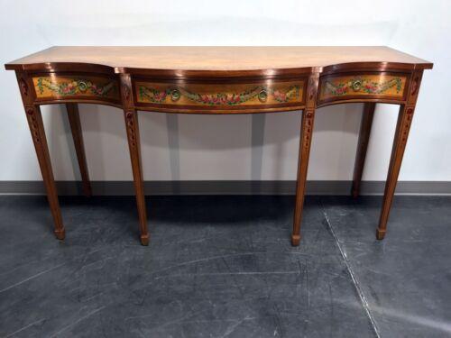 WELLINGTON HALL Mahogany Serpentine Hand Painted Floral Sideboard