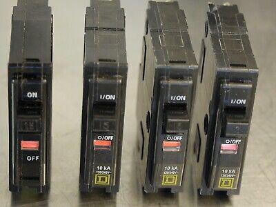 4- Square D 15 Amp Single Pole Qo Circuit Breakers Qo115 Lot