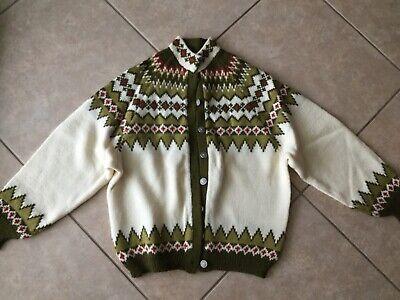 Vintage Green Nordic Wool Viking Knit Cardigan Sweater Jumper Jacket Small