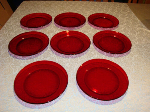 """Lot of 8 Arcoroc France Ruby Red Salad / Bread Plates 8"""" #1"""