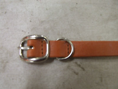 DOG COLLAR TAN LEATHER SOLID BRASS BUCKLE NICKLE PLATED