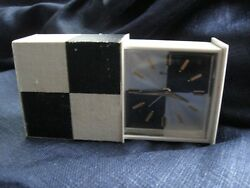 Vintage Mid Century BULOVA Travel Alarm CLOCK in Case Black & White Modern