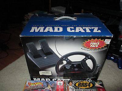 Nintendo 64 -Mad Catz Racing Wheel & 5 Racing Games