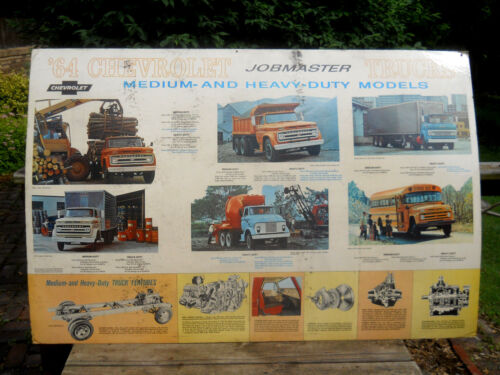 1964 Chevrolet Showroom Advertising Poster Sign 60x40-Jobmaster Trucks-Med/Heavy