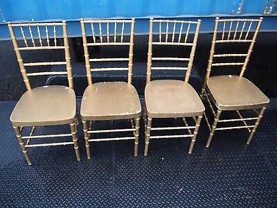 Vintage Wood Banquet Party Bamboo 4 Gold Chair Seating Catering Ballroom Kitchen