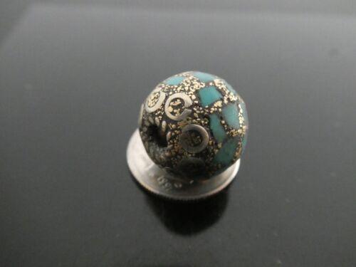 Vintage Tibetan Style Turquoise Mosaic Nepal Antique Silver Ornate 14mm Bead
