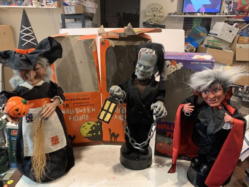 TELCO HALLOWEEN  MOTION-ETTES ANIMATED FRANKENSTEIN Witch Dracula With Boxes