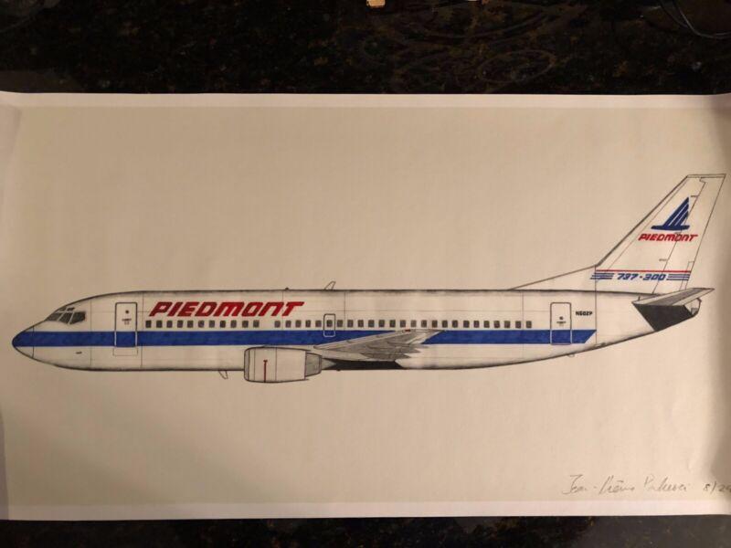 Piedmont Airlines Art 737 Hand Drawn Canvas Print
