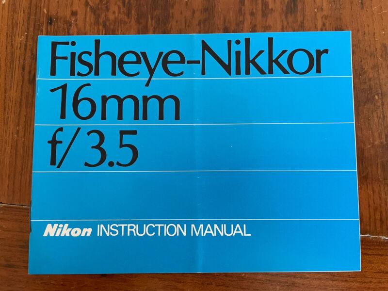 Nikon Nikkor Fisheye 16mm f3.5 Lens - Genuine Instruction Manual